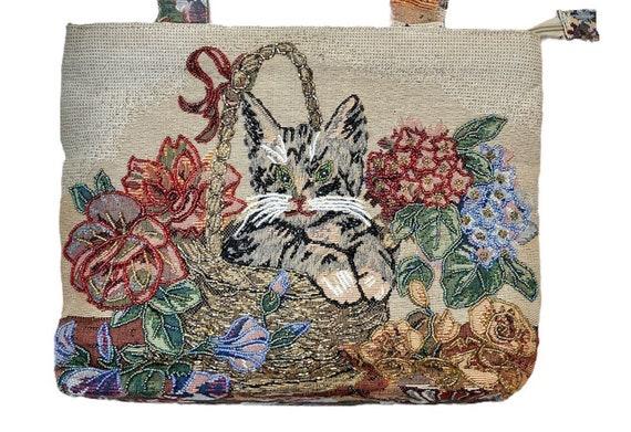 Cat Bag Purse Shoulder Vintage Bag Beaded Grandma… - image 2
