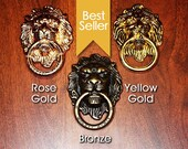 3 Colours of Die Cast Metal Alloy Lion Head Knocker Ring for Wardrobes, Cabinets, Drawers or Mobiles Ring Holder