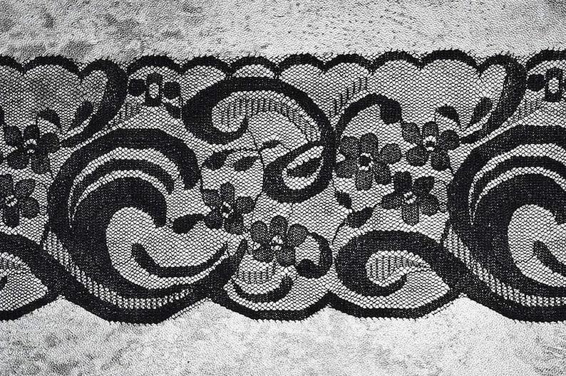Metre Black Ultra Soft Elastic Eyelash Embroidered Lace Ribbon 9cmWide UF80848 Full Three 3