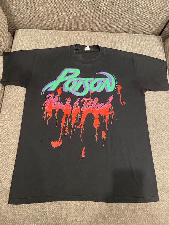 Vintage POISON 1990-'91 Flesh & Blood Tour Shirt