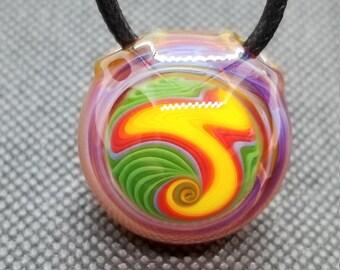 Striker Totem #2 w Blue Loop--Heady Glass Pendant--Handmade Pendant--Flameworked Glass