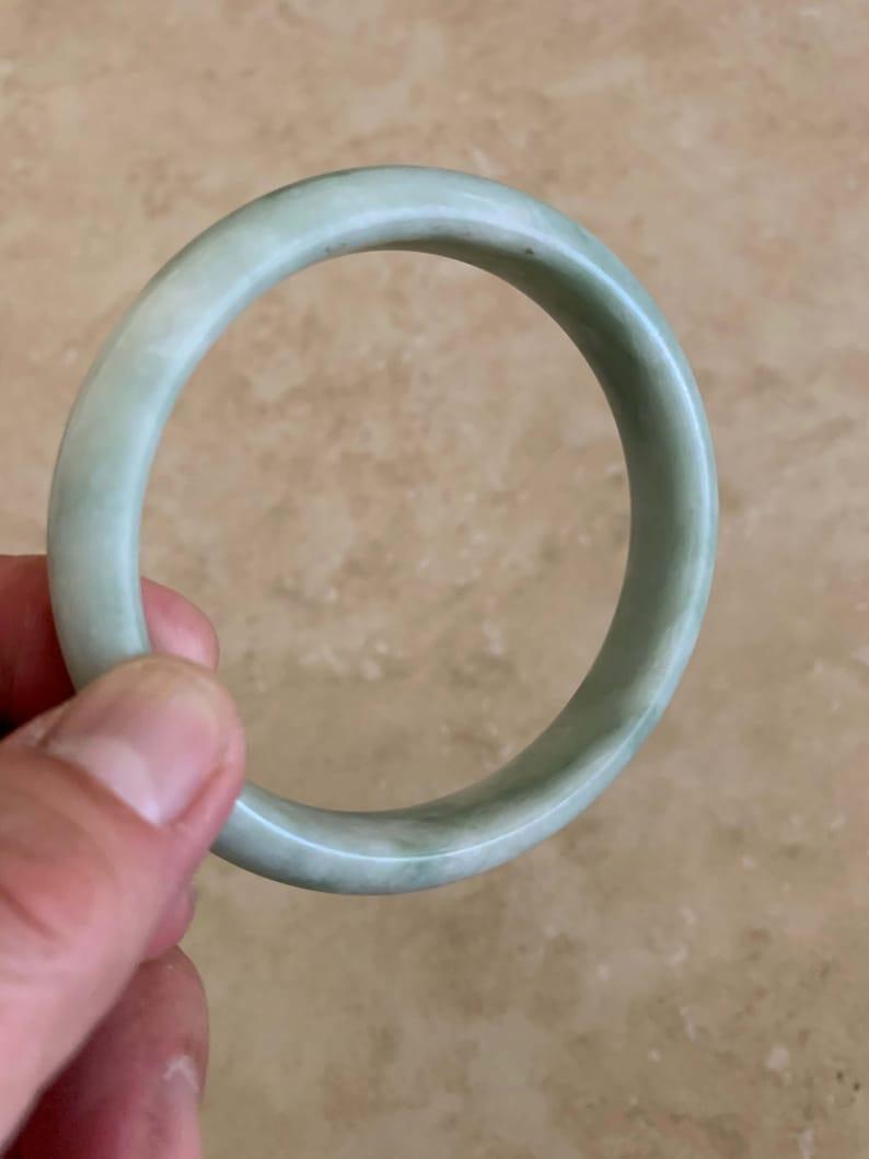 White Jade Bangle Bracelet Natural Chinese Untreated Genuine Jade Nephrite Grade A 57.5mm