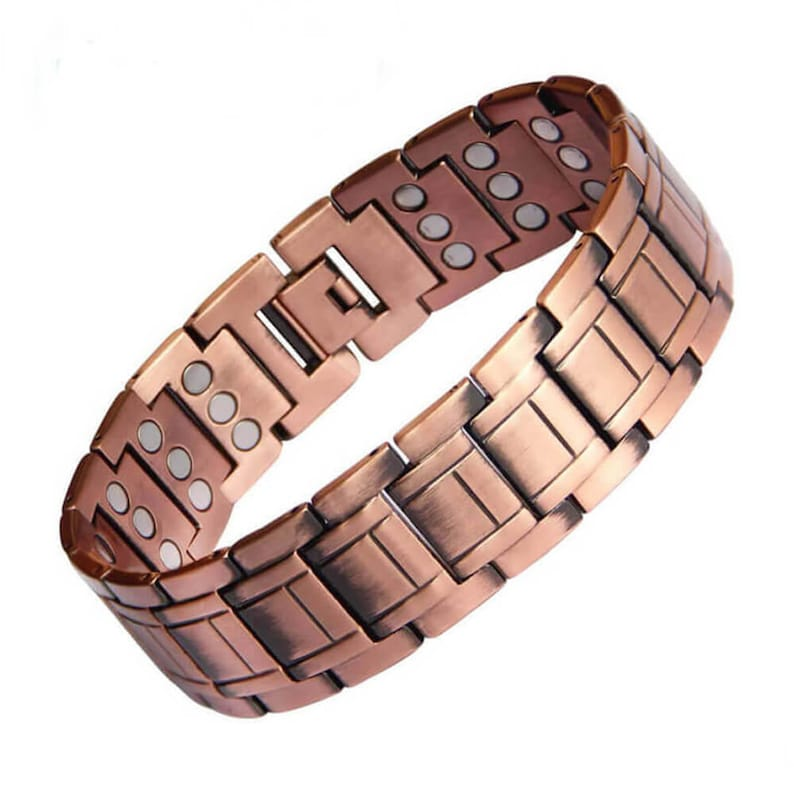 Largest Pure Copper magnetic bracelet for men arthritis pain relief 60 magnets for balance energy strength stress
