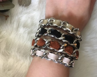 e6da8e38182 Chanel Inspired Chunky and thin bracelets. Different Suede and leather  colors
