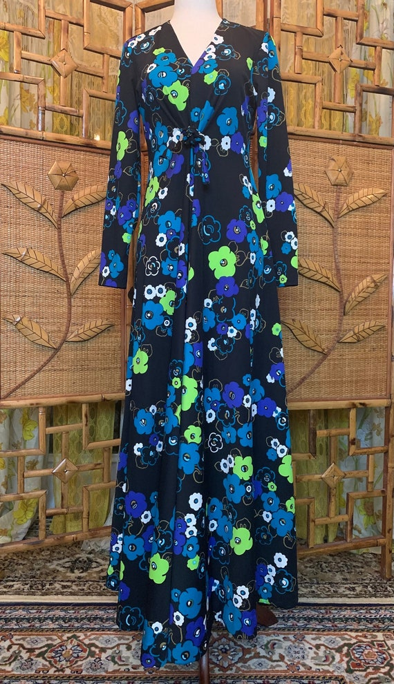 Vintage 1970's Psychedelic Floral Maxi Dress