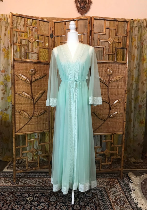 Vintage Light Blue Miss Elaine Long Gown and Robe