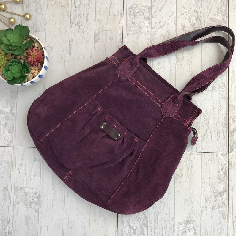 77d96f66fa1 Vintage 90's United Colors of Benetton purple suede hobo bag