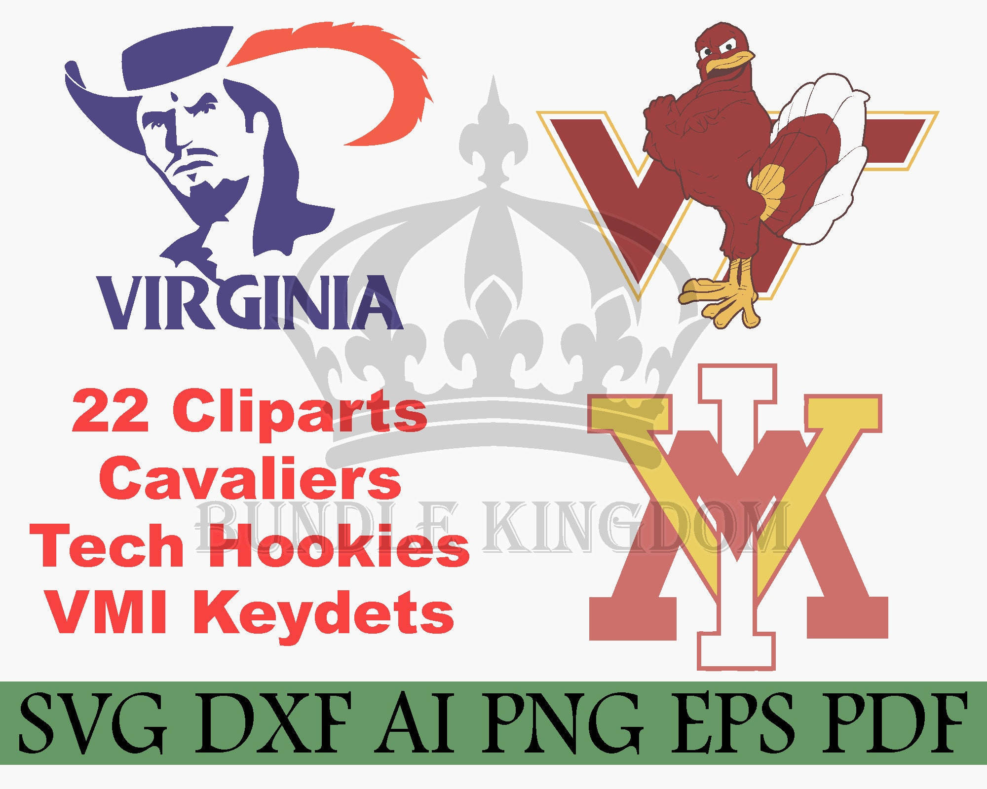 Virginia Tech Svg Virginia Cavaliers Virginia University Etsy
