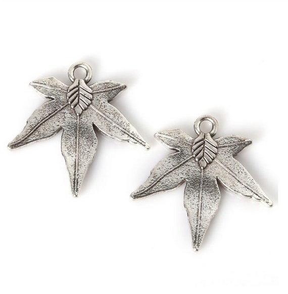 Two Sterling Silver Maple Leaf Charms 8x11mm