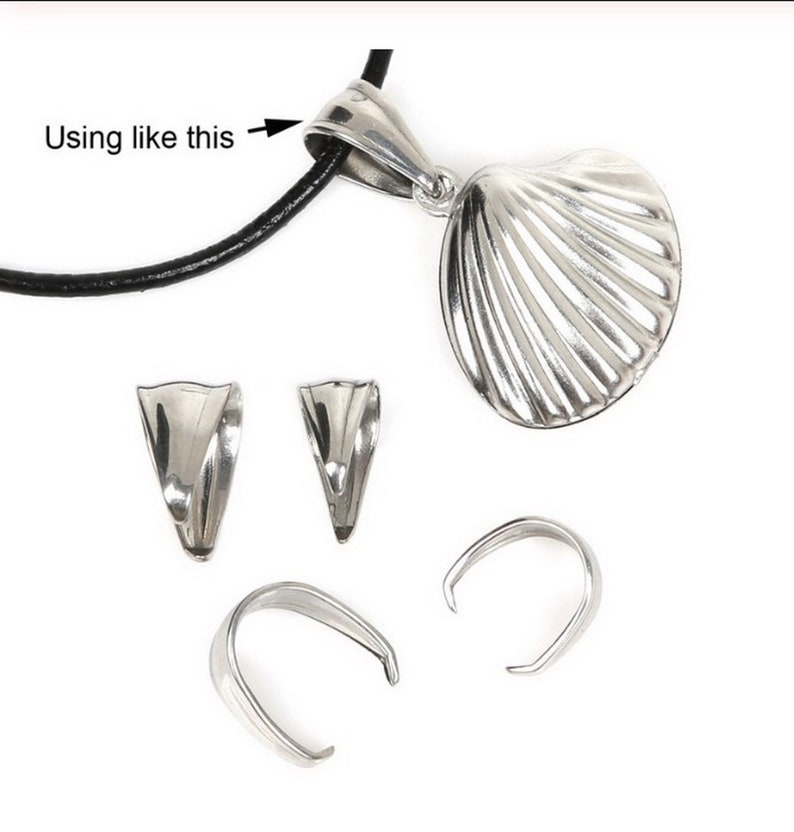 10pcs Strong Pinch Clip Pendant Bail Stainless Steel Clasp Necklace Connector