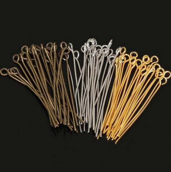 300  Bright silver plated Headpins 30mm head pins
