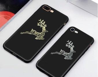 Gold Reindeer Decal Wildlife Cell Phone Sticker for Animal Lover Woodland Nursery Decor Scandinavian Art
