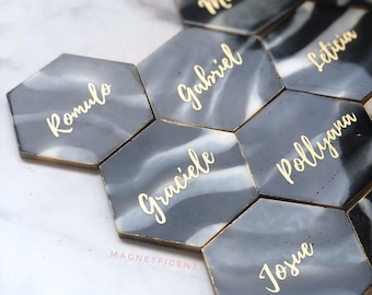 Hexagon Faux Agate Place Card, Handmade Calligraphy Wedding Name Card,  Resin Escort Card for Bridal Party | Wedding Hexagon Place Card