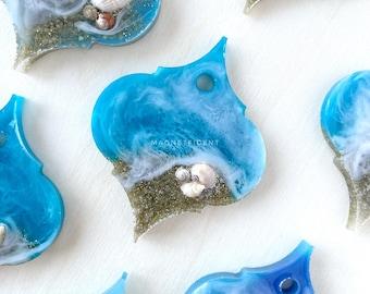 Holiday Beach Ocean Ornaments, Ocean Wave Ornament Handmade, Seashell Christmas Decor for Ocean Lover, Coastal Holiday Tree Ornament