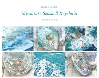 Handmade Ocean Inspired Keychain | Seashell Miniature Pendant in Various Shapes Advent Gift for Sea and Nature Lovers Xmas Stocking Stuffer