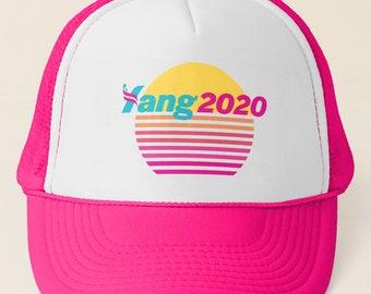 3c2d778de94d3 Andrew Yang 2020 Pink Vaporwave Trucker Hat