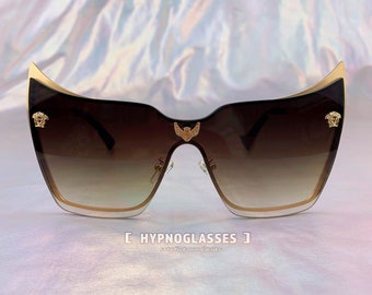 42325b3e823 Versace Inspired Cat Eye Sunglasses Men Women Medusa 80s 70s Unique  Festival Designer Aesthetic Goth Sunglasses Mothers Day Gift for Mom