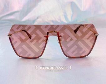 f2de022d40 Fendi Inspired Sunglasses Men Women Festival FF Designer Oversized Semi  Rimless Sunglasses