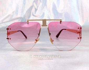 c8b11c6948710 Gucci Inspired Pink Rimless Sunglasses Women Unique Festival Designer  Oversized Gold Metal Futuristic Glasses