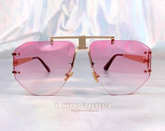e8c1ee4d43d21 Gucci Inspired Pink Rimless Sunglasses Women Unique Festival Designer  Oversized Gold Metal Futuristic Glasses