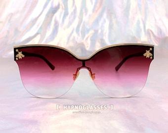 4e51fb3281070 Cat Eye Sunglasses Gucci Inspired Women Unique 80s 50s 70s Festival Designer  Bee Oversized Sunglasses