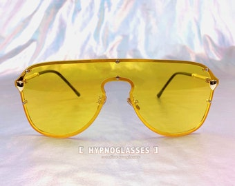 5de4a7db54eb4 Oversized Yellow Sunglasses Men Women Unique Festival Designer Futuristic  Glasses