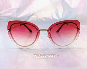 ff7d048109642 Red Cat Eye Sunglasses Women Gradient Glasses Pastel Goth Fairy Kei  Harajuku Lolita Cute Eyeglasses Festival Rave Punk