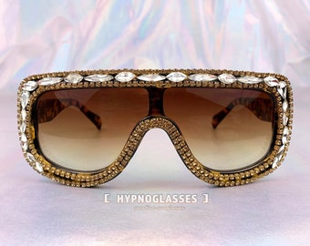 b68916aa7dbbe Bling Sunglasses Crystal Glasses Oversized Women Designer Inspired 70s 80s  Festival Rave Punk Futuristic
