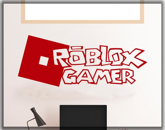 Roblox Wall Decal Roblox Gamer In Roblox Style Wall Decal Etsy