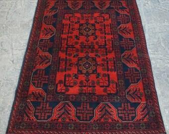 Handmade Afghan Rug, Khial Muhammadi Afghan Rug, Best Afghan Turkoman Khal Mohammadi Handmade Tribal Vintage Rug 3.4 x 4.10 Feet