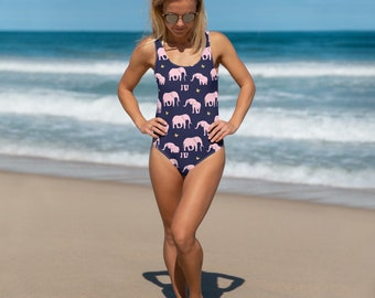 66013fb15bb34 Seamless pattern featuring elephant silhouette One-Piece Swimsuit