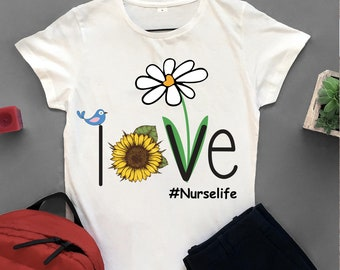b02e3f053fd15 Love nurse life, nurse life, nurse svg, nurse shirt, nurse gift, awesome  nurse, daisy print, peace symbol, svg cut files, svg clipart, ,