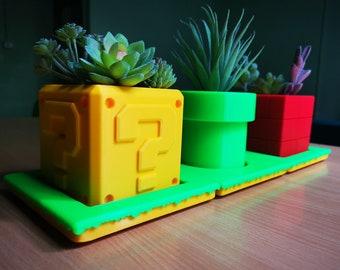Super Mario Planters Flower Pots | Super Mario Planter | Office Decor | Home Decor