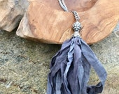 Boho Beautiful Sari Silk Tassel Necklace Grey
