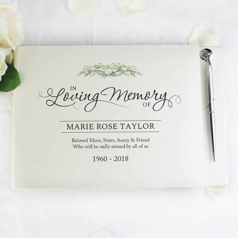 Personalised An Elegant In Loving Memory Hardback Guest Book /& Pen
