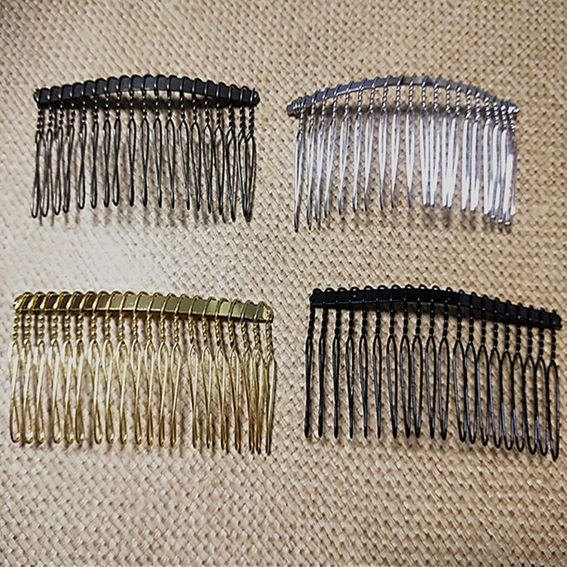 5Pcs 20Teeth  37x75mm Antique Bronze Hair Comb  Silver Tone Hair Comb  Gold Tone  Hair Comb  Black Hair Comb Wedding Bridal Hair Comb
