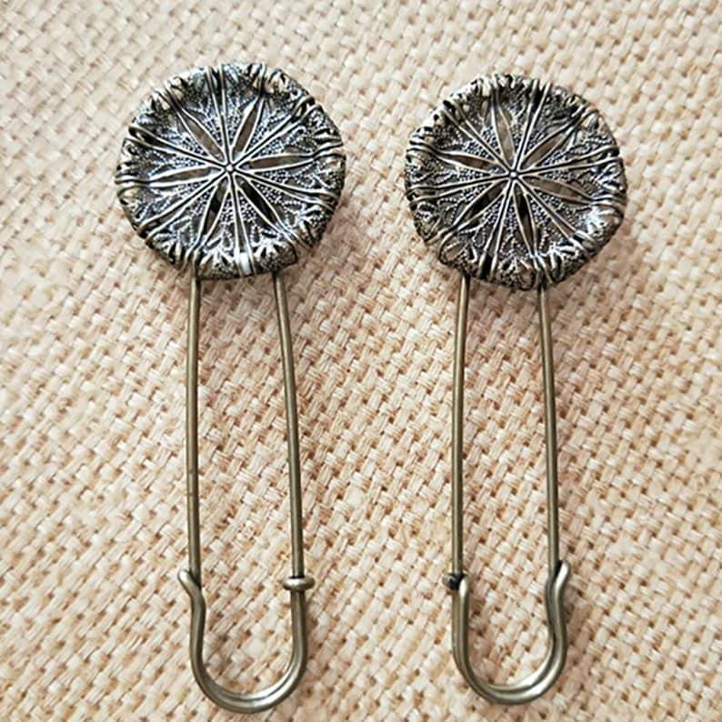 Flower Brooch clip Antique Silver Flower Filigree Pad Flower Brooch Pins 10PCS