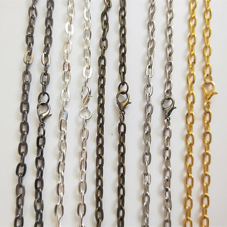 Antique Bronze Silver ToneAntique SilverGold ToneGunmetal Black Cable Chain Flat Oval Necklace Chain With  Lobster Clasp 4x7MM 10PCS