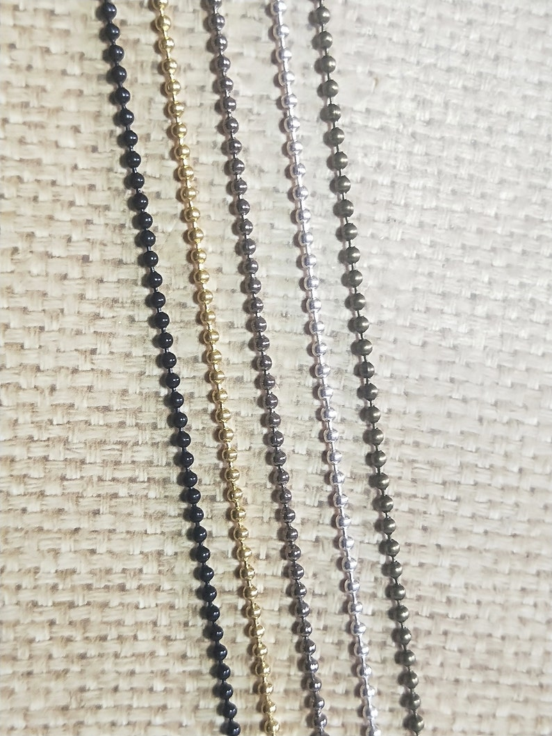 10Pcs 2.4MM Bronze Chain Silver Chain Gold Chain Ball Chain  Collection Necklace  Ball Chain With  Lobster Clasp