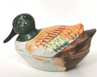 French majolica duck handpainted pot, Michel Caugant 1970s pate terrine, French country home kitchen decor, kitsch animal, farmhouse decor