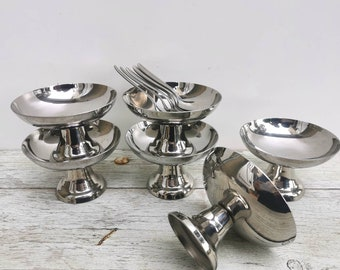 Stainless steel bowls, French vintage ice cream bowls and spoons, Paris bistro dessert bowls, sorbet and ice cream dishes, French vintage