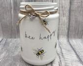 Bee gift, bee happy vase, gift for her, bee ornament, be happy jar, rustic vase, rustic decor, pen holder, desk tidy, paintbrush holder