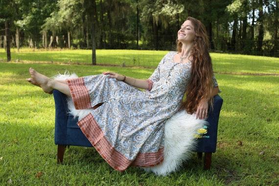 Anarkali Boho Dress made with block print fabric and ikat