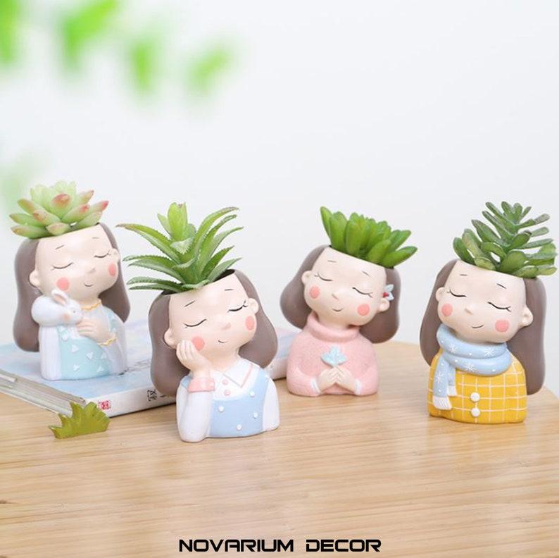 Girl Face Planter Adorable Planter Cute Plant Pot Mini Cactus Planter Air Plant Holder Cute Girl Succulent Planter Happy Face Planter