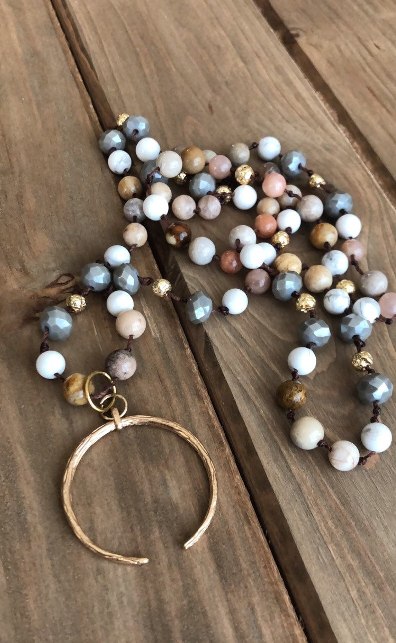 Hand knotted beaded Jasper howlite gold crescent moon new age flower hippie boho pendant necklace