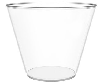 1d29be25b2f JL Prime 100 Clear Plastic Cups, 9 Oz Heavy Duty Reusable Disposable Clear  Plastic Cups, Old Fashioned Hard Drinking Tumblers for Party