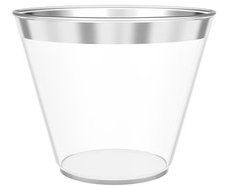 1c30934eed1 JL Prime 100 Silver Plastic Cups, 9 Oz Heavy Duty Reusable Disposable  Silver Rim Clear Cups for Party, Old Fashioned Drinking Tumblers