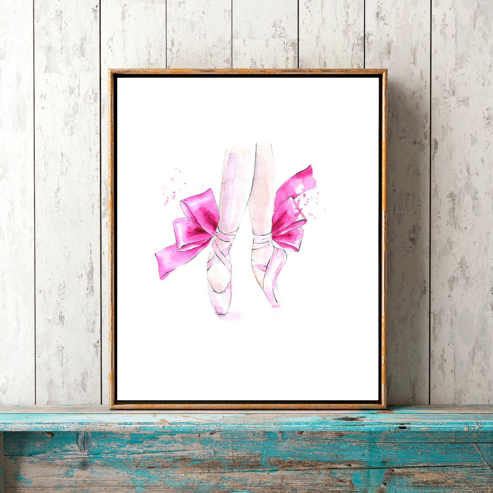 ballerina shoes set of 2 prints ballet slippers wall art illustration printable poster digital print girls nursery decor waterco