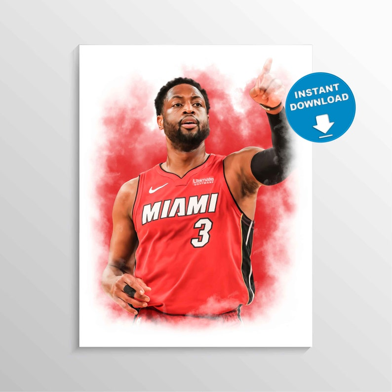 picture regarding Miami Heat Printable Schedule known as Dwyane Wade print, Miami Warmth poster, Basketball wall artwork, Sporting activities wall decor, NBA printable, Male Cave, small children place wall decor, present, Wade artwork