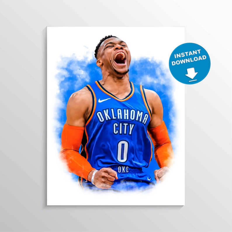 photo regarding Okc Thunder Printable Schedule referred to as Russell Westbrook poster, oklahoma metropolis thunder print, NBA wall decor, Sporting activities print, playroom decor, present, Basketball Poster, printable artwork
